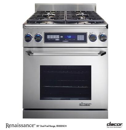 "Dacor Discovery ER30DSC 30"" Freestanding Dual Fuel Range With 4 Sealed Burners, 3.9 Cu. Ft. Self-Cleaning Convection Oven, Chrome Trim: Stainless Steel"