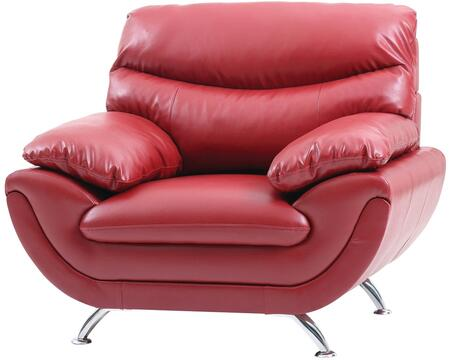 Glory Furniture G432C Faux Leather Armchair with Metal Frame in Red
