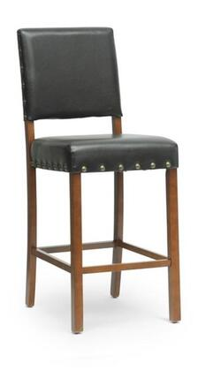 Wholesale Interiors IDAC013PC4 Walter Modern Counter Stool with Solid Wood Frame, Polyurethane Foam Cushioning, Antique Brass Tacks, Wooden Legs and Faux Leather Upholstery