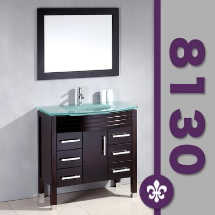 "Cambridge 8130X 35"" Espresso Wood & Glass Basin Sink Vanity Set with Faucets"
