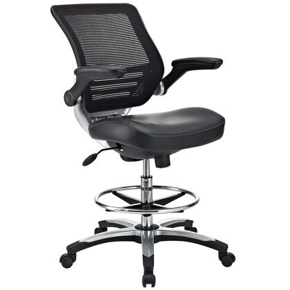 """Modway EEI-211 Edge 20.5"""" Drafting Chair with Adjustable Height, Chrome Foot Ring, Flip-Up Padded Arms, Breathable Mesh Back, Seat Tilt with Tension Control, and Dual-Wheel Casters"""