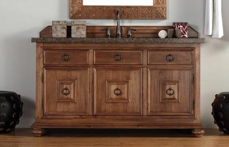 "James Martin Mykonos 550V60SCING 60"" Single Vanity with 3 Shelves, 3 Doors, 3 Drawers, 1 Sink Included, Granite Top, Antique Pewter Hardware, Kiln-Dried Hardwood with 100% Solid Wood Carvings in Cinnamon Color"
