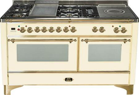 "Ilve Majestic Series UM150FSMP 60"" Freestanding Dual Fuel Range with 5 Burners, 2.8 cu. ft. Primary Oven Capacity, Convection Oven, Warming Drawer, & Brass Trim, in"