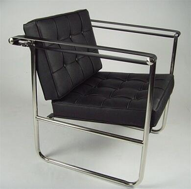 Fine Mod Imports FMI9247BLACK Celona Series Lounge Leather Stainless Steel Frame Accent Chair