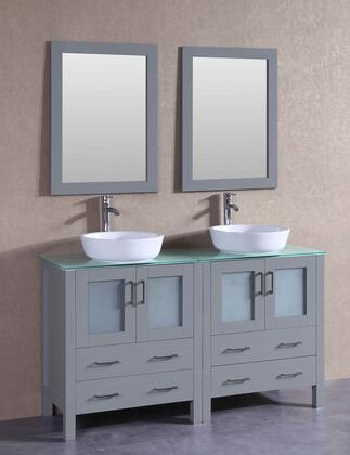 """Bosconi AGR230BWLCWGX XX"""" Double Vanity with Clear Tempered Glass Top, Oval White Ceramic Vessel Sink, F-S02 Faucet, Mirror, 4 Doors and X Drawers in Grey"""