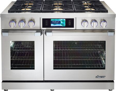 """Dacor DYRP48DCX 48"""" Slide-In Dual Fuel Range with 5.2 cu. ft Capacity Oven, GreenClean, SoftShut Hinges and 18000 BTU SimmerSear Burner: Color Match"""