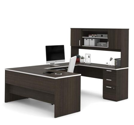 """Bestar Furniture 52414-xx Ridgeley U-Shaped Desk with 1"""" Thick Commercial Grade Work Surface, Scratch Resistant Melamine Finish, Hutch and Fully Reversible Design in"""