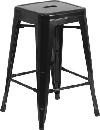"""Flash Furniture CH3132024GG 24"""" High Backless Metal Indoor-Outdoor Counter Height Stool with Square Seat"""
