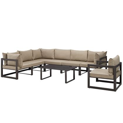 Modway Fortuna Collection EEI-1736- 8-Piece Outdoor Patio Sectional Sofa Set with Coffee Table, Single Sofa, 3 Center Sections and 3 Corner Sections in
