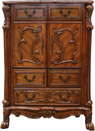 Acme Furniture 4666 Dresden Chest with 5 Drawers, 2 Doors, Interior Shelf, Carved Wood Elements, Antique Brass Hardware, Ball and claw Feet in