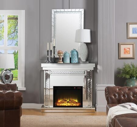 Acme Furniture Nysa Fireplace and Mirror