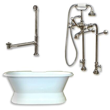 """Cambridge DESPED398463PKG Cast Iron Double Ended Slipper Tub 71"""" x 30"""" with No Faucet Drillings and Complete Free Standing British Telephone Faucet and Hand Held Shower Plumbing Package"""