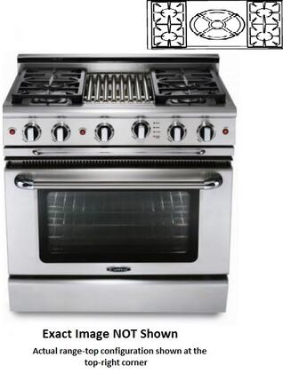 """Capital Precision Series CSB362W2-X 36"""" Freestanding Dual Fuel Electric Self-Cleaning Range with 4 Sealed Burners, 4.6 Cu. Ft. Capacity, Flex Roller Racks, and Moto-Rotis, in Stainless Steel"""