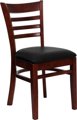 "Flash Furniture HERCULES Series XU-DGW0005LAD-MAH-XXV-GG 19.5"" Mahogany Finished Ladder Back Wooden Restaurant Chair with Vinyl Seat, Commercial Design, Hardwood Construction, and Plastic Floor Glides"