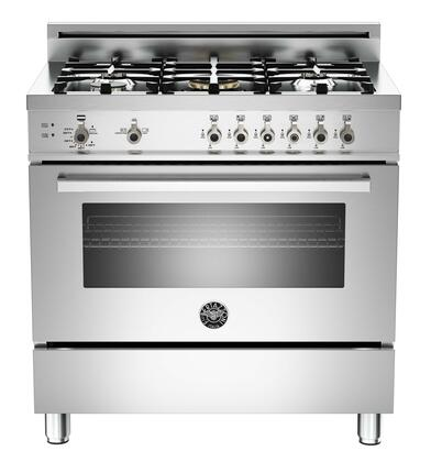 """Bertazzoni Professional PRO365GAST 36"""" Gas Range With 5 Brass Burners, 18,000 BTUs Power Burner, Designer Metal Knobs, 4.4 cu. ft. Gas Convection Oven, 1.5 cu. ft. Storage Compartment in Stainless Ste"""