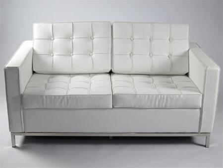 Fine Mod Imports FMI2200WHITE Button Series Leather Stationary with Stainless Steel Frame Loveseat