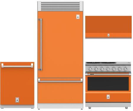 Hestan 963915 4 piece Citra Orange Kitchen Appliances Package