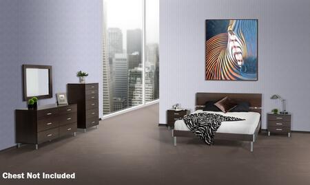 VIG Furniture VGDEBRAVOWGESET Modrest Bravo Platform Bedroom Set includes 2 Nightstands, Bed, Dresser, Mirror and Polished Metal Legs in Wenge Color
