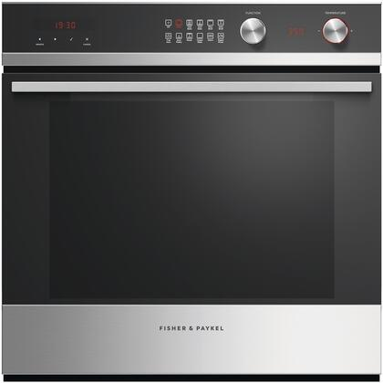 Fisher Paykel Ob24scdex1 Contemporary Series 24 Inch Stainless Steel With Black Gl Electric Single Wall Convection Oven