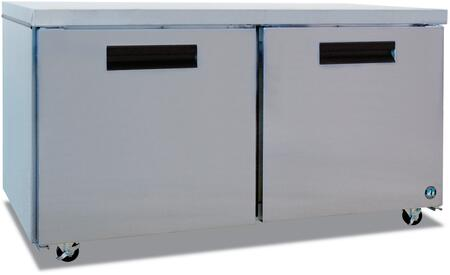 """Hoshizaki CRMR60xx 60"""" Commercial Undercounter Refrigerator with 17.55 cu. ft. Capacity, Stainless Steel Exterior, 2 Epoxy Coated Shelves, Stepped Door Design, and Field Reversible Doors, in Stainless Steel"""