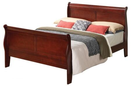 Glory Furniture Full Size Sleigh Bed with Curved Headboard and Wood Veneer Construction in