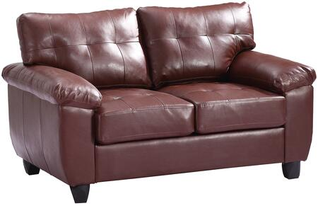 """Glory Furniture 57"""" Loveseat with Tufted Cushions, Pillow Top Arms, Tapered Legs, Removable Backs and Faux Leather Upholstery in"""