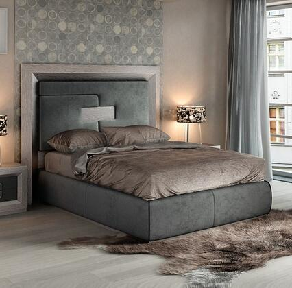 ESF Enzo Collection Platform Bed with High Headboard and Microfiber Upholstery