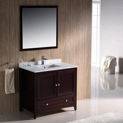 """Fresca Oxford Collection FVN2036 36"""" Traditional Bathroom Vanity with 2 Soft Close Doors, Soft Close Dovetail Drawer and Tapered Legs in"""
