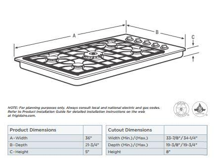 frigidaire gallery dimensions