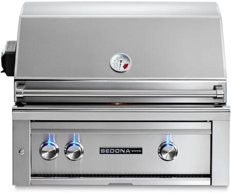 "Lynx L500R 30"" Sedona Series Built-In Gas Grill with Rotisserie, 2 Stainless Steel Burners, 733 sq. in. Cooking Surface, Temperature Gauge, and Ceramic Briquettes, in Stainless Steel"
