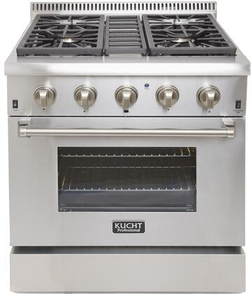 "Kucht KRD306Fx 30"" Professional Freestanding Dual Fuel Range with 4 Sealed Burners, 4.2 cu. ft. Oven Capacity, 4"" Stainless Steel Backsplash, Convection and 2 Halogen Lights, in Stainless Steel"