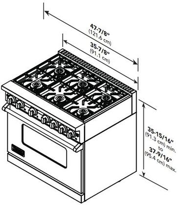 """Viking VGR7488BXXLP 48"""" Professional 7 Series Liquid Propane Range with 8 Elevation Open Burners, SureSpark Ignition System, VariSimmer Setting and Convection Oven, in"""