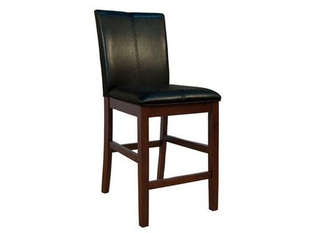 AAmerica PRSES32 Parson Curved Back Stool with Solid Hardwood Legs in Espresso, No Sag Spring Seating and Easy Care PU Leather Cover in