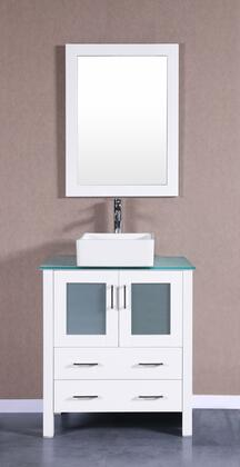 Bosconi Bosconi AW130CBECWGX Single Vanity with Soft Closing Doors , Drawers,Glass Top, Faucet, Mirror in White and White Vessel Square Ceramic Sink