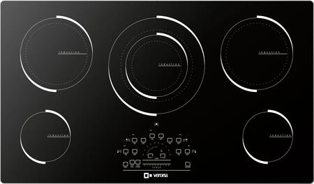 "Verona VECTXM365 36"" Electric X 5 Element Cooktop With Slide Touch Controls, Peacock Tail Bar, Low Power Scale, Hot Surface Indicator, Residual Heat Indicator and Acoustic Buzzer, in Black"