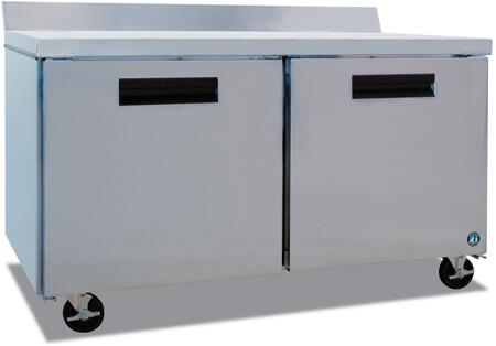 "Hoshizaki CRMF60Wxx 60"" Commercial Worktop Freezer with 17.55 cu. ft. Capacity, Stainless Steel Exterior, 2 Epoxy Coated Shelves, Stepped Door Design, and Field Reversible Doors, in Stainless Steel"