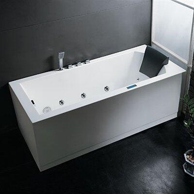 "Ariel AM154X70 70"" Platinum Whirlpool Freestanding Tub With Water Pump System, Air Bubble Jet System, FM Radio, Chromatherapy Lighting, Ozone Sterilization & Heavy-Duty Acrylic"