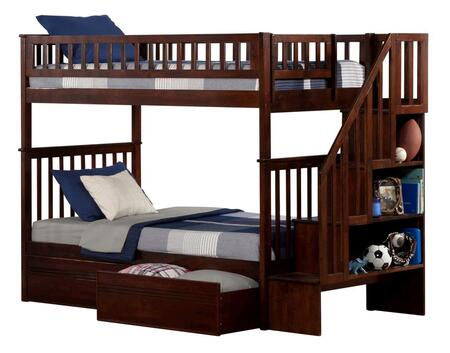 Atlantic Furniture AB5661 Woodland Staircase Bunk Bed Twin Over Twin With Flat Panel Bed Drawers
