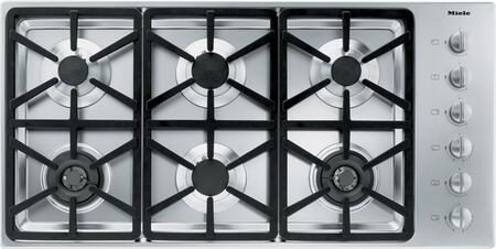 "Miele KM3484 42"" Cooktop with 6 Sealed Burners, Wok Burner, Ignition Safety Control, Fast Ignition System, Stainless Steel Knobs and 73,800 BTU Total Output: Stainless Steel"