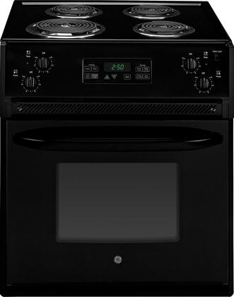 "GE JM250DFBB 27"" Drop-In Electric Range with Coil Element Cooktop, 3.0 cu. ft. Primary Oven Capacity, in Black"