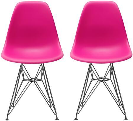 EdgeMod EM104BLKFUSX2 Padget Series Contemporary Metal Frame Dining Room Chair