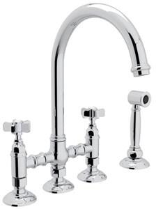 "Rohl A1461XWS-2 Italian Country Kitchen Collection Deck Mounted C-Spout Bridge Kitchen Faucet with Sidespray, 8"" Reach, 1.5 GPM Water Flow and Five Spoke Handles in"