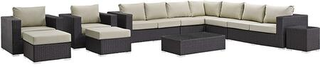 Modway Sojourn Collection EEI-1885-CHC- 11-Piece Outdoor Patio Sunbrella Sectional Set with Coffee Table, Corner Section, Left Arm Loveseat, Right Arm Loveseat, Side Table, 2 Armchairs, 2 Armless Chairs and 2 Ottomans in