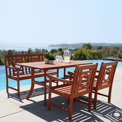 Vifah Malibu Collection PC Outdoor Dining Set with 4-Foot Bench, Rectangle Table, Armchairs, Umbrella Hole and Eucalyptus Hardwood in Natural Wood Finish