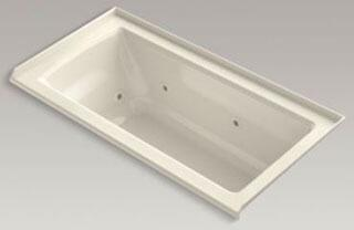 "Kohler K-1947-R Archer 60"" x 30"" Alcove Whirlpool Bath Tub with Integral Flange and Right-Hand Drain in"