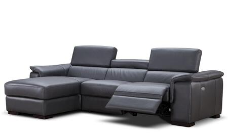 "J and M Furniture Allegra Collection 18205-XHFC 113"" Premium Leather Power Reclining Sectional Sofa with X Arm Facing Chaise and X Arm Facing Sofa in Slate Grey"