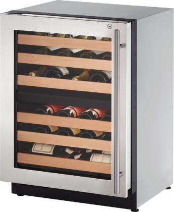 U-Line U2224ZWCxB 24 Inch Built-in Wine Storage with 43 Bottle Capacity, Dual-Zone Temperature System, Digital Touch Pad Control, LED Lighting and Star K Certified, in Stainless Steel