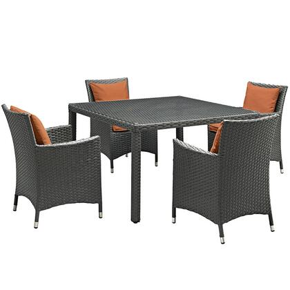 Modway Sojourn Collection EEI-2244-CHC- 5-Piece Outdoor Patio Sunbrella Dining Set with 4 Armchairs and Dining Table in