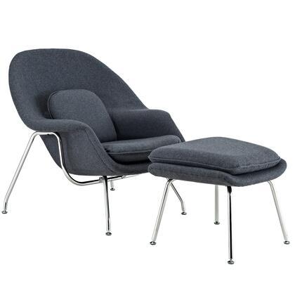 Modway EEI113DGR Womb Series Armchair Fabric Metal Frame Accent Chair