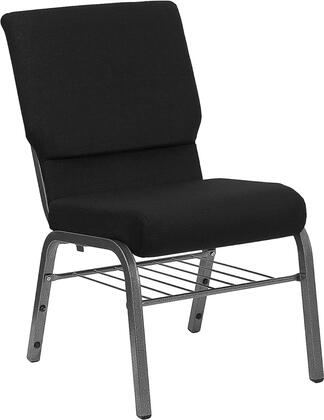 """Flash Furniture HERCULES Series XU-CH-60096-BX-SV-BAS-GG 18.5"""" Wide Church Chair with 4.25"""" Thick Seat, Steel Book Rack, Book Pouch on Back, 16 Gauge Steel Frame, and Silver Vein Frame"""